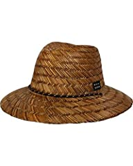 Narrow brim sea grass straw lifeguard hat with front woven patch, draw cord and adjustable toggle.
