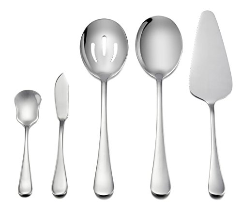 Serving Set, LIANYU 5-Piece Hostess Set, Stainless Steel Flatware Serving Pieces, Mirror Finished, Dishwasher Safe