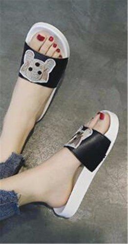 Señora al verano fondo plano de libre GAOQIANGFENG Black de aire zapatillas con patin dSUxYC