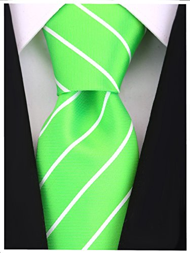 Pencil Stripe Ties for Men - Woven Necktie - Lime Green w/White ()