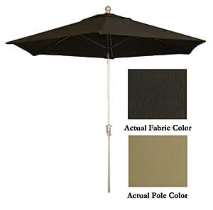 9' Push Button Tilt Patio Market Umbrella - Champagne: Walnut
