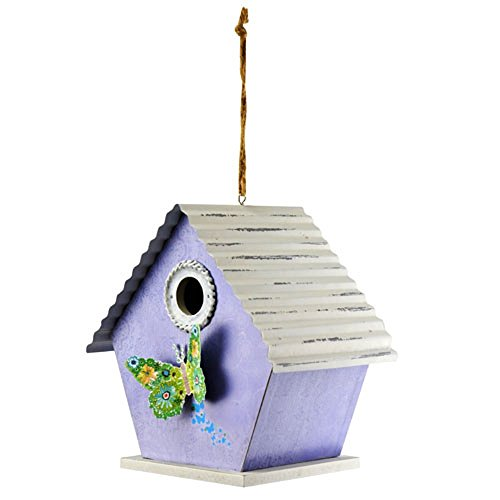 Birdhouse Red Roof - Red Carpet Studios 40934 Patterned Metal Roof Birdhouse, Lavender Butterfly