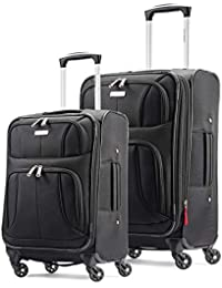 Aspire XLite Softside Expandable Luggage with Spinner Wheels, Black, 2-Piece Set (20/25)