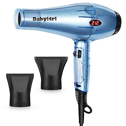 Babyltrl 1875W Hair Dryer, Negative Ions Professional Salon Hair Blow Dryer with LED Temperature Display, AC Motor Low Noise Hairdryer with 2 Concentrator Nozzle Attachments
