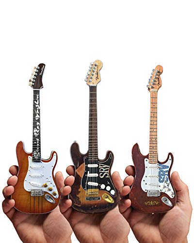 Mini Guitar Stevie Ray Vaughan Collectible Set of 3 SRV Number One, Lenny, and The Main Fender Guitar Replicas