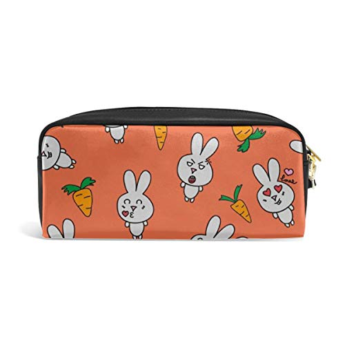 Pencil Bag Case Funny Bunny and Carrot Pen Holder High Capacity Stationery Pouch Multi Use PU Leather Makeup Pouch for School and Work -