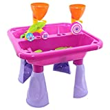Delex Sand and Water Table with Double Compartment for Toddlers including Assorted Accessories. Garden Sandpit Play Set. Great Christmas XMAS \ Birthday Gift for Kids Boys Girls. Pink