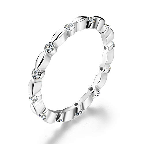 Esberry 18K Gold Plating 925 Sterling Silver Cubic Zirconia Stackable Rings CZ Simulated Diamond Eternity Ring Engagement Wedding Bands for Women (White Gold, 8.5)