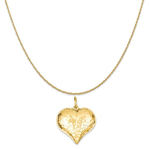 Hammered Gold Puffed Heart (14k Yellow Gold Hollow Polished Hammered Large Puffed Heart Charm on a Rope Chain Necklace, 16