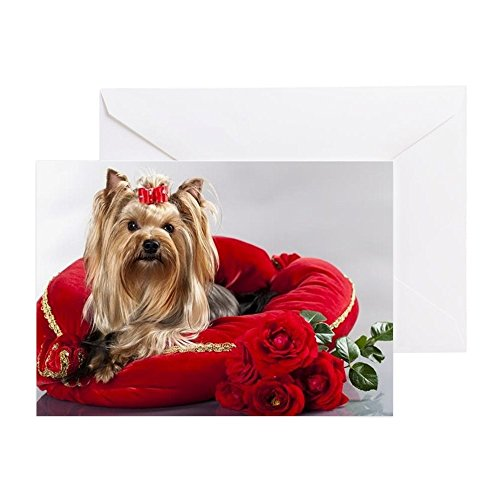 CafePress - Yorkshire Terrier And Red Roses - Greeting Card, Note Card, Birthday Card, Blank Inside Matte (Paper Costume Performer)