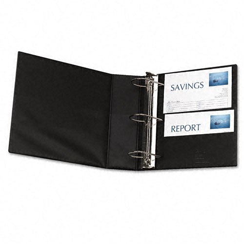 Avery Products - Avery - Durable Slant Ring Reference Binder, 4'' Capacity, Black - Sold As 1 Each - Gap Free™ feature prevents ring misalignment so pages turn smoothly. - Back-mounted slant rings hold up to 25% more sheets than same size round rings and by Avery (Image #1)