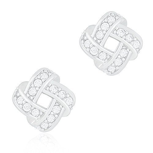 (ORROUS & CO Legacy Collection 18K White Gold Plated Cubic Zirconia Twisted Love Knot Stud Earrings)