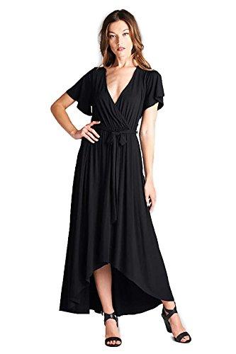 Tua USA Hi Low Short Sleeve Exotic Bohemian Print Knit Wrap Maxi Dress (Solid Black, L)