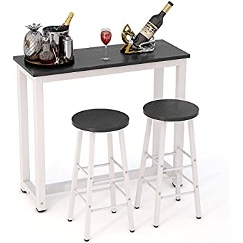 Tribesigns 3 Piece Pub Table Set, Counter Height Dining Table Set With 2 Bar