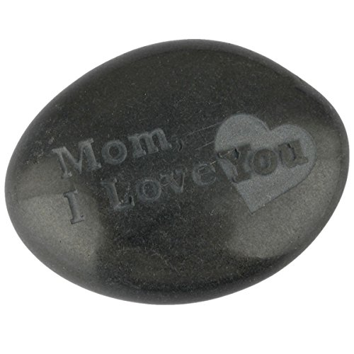 (SUNYIK Black Engraved Inspirational Stone for Mother's Day-Mom,I Love You(1.5-2