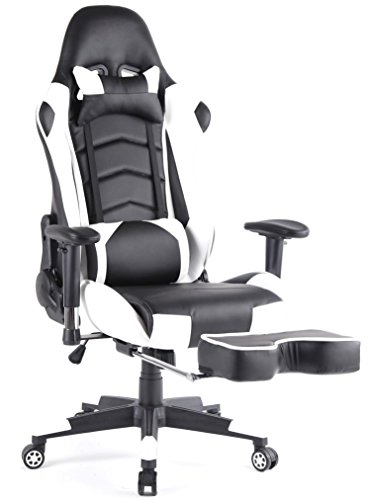 Top Gamer Ergonomic Gaming Chair High back Swivel Computer Office Chair with Footrest Adjusting Headrest and Lumbar Support Racing Chair (White/Black)
