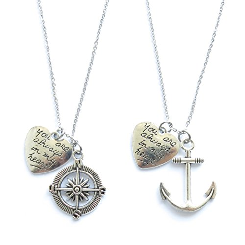 You Are Always In My Heart Necklace or Keychains Best Friends BFF Sisters Couples (Necklace) (Heart Anchor)