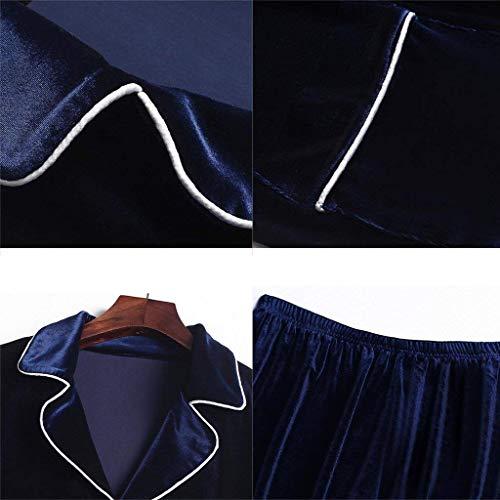 autunnali accappatoio pantaloni Pigiama a maniche coppie spesso invernali pigiama e tascone in Tracksuit da in Grande lunghe cotone Completo modelli poliestere qzxanFwpn