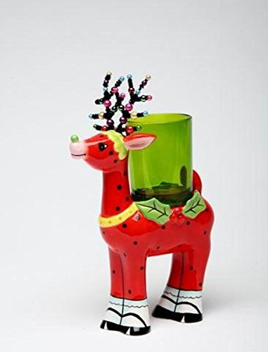 5.75 Inch Red Polka Dot Reindeer with Green Glass Votive Candle Holder