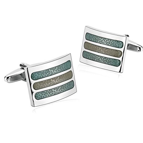 Epinki Mens Stainless Steel Silver Green Rectangle Three Stripe Cufflinks for Wedding Business ()