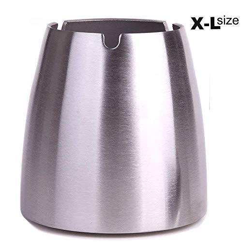 OILP X-Large Cigarette Ashtray Outdoor Windproof Ashtray Stainless Steel Ashtray Extra Large for Patio Outside Home Office (X-Large,Silver) ()