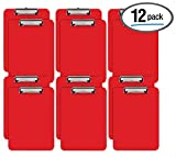 Red Plastic Clipboards, 12 Pack, Durable, 12.5 x 9 Inch, Low Profile Clip, by Better Office Products, Red, Set of 12