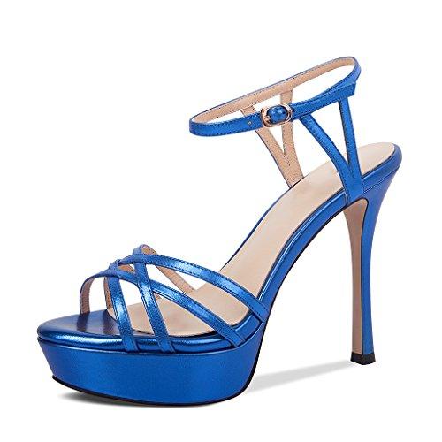 Plataforma uk Tacones color Jianxin Mujer Del Pie 35 De Gruesas Sexy Altos us Impermeable Azul Finos Tamaño 5 Eu 4 Sandalias Femenino Dedo Punta 2 Abierta Verano Con XqUFwnzU