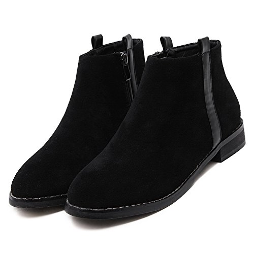 Allhqfashion Women's Round Closed Toe Low-Heels Frosted Ankle-high Solid Boots Black iDFgU3