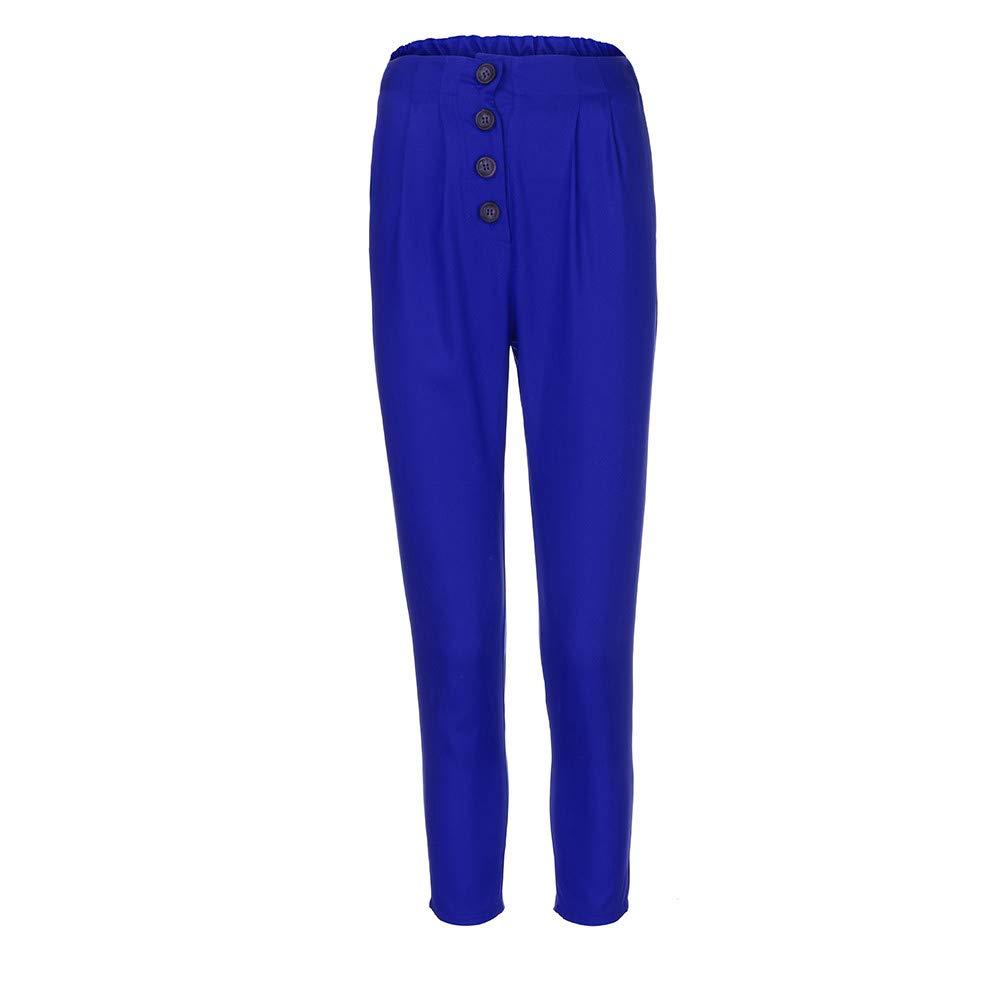 ANJUNIE Women Retro High Waist Pure Color Button Elastic Waist Casual Long Pants