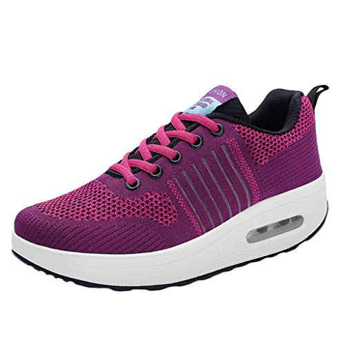 Oliviavan Woman's Sports Shoes Outdoor Mesh Lace-Up Breathable Soft Bottom Shoes Sneakers