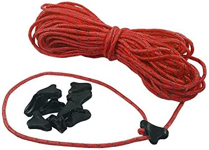 Lightweight Non-Slip Cord Adjusters For Camping 60-1.8mm Ultralight Reflective Tent Cord Backpacking Paracord Rope Guy Line Hiking LiteOutdoors Guyline /& Tensioner Kit