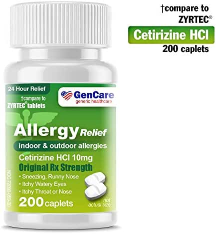 GenCare  Cetirizine HCL 10 mg (200 Count) | 24 Hour Non Drowsy Allergy Relief Pills | Best Value Generic OTC Allergy Medication | Antihistamine for Sneezing, Runny Nose and Itchy Eyes | Generic Zyrtec