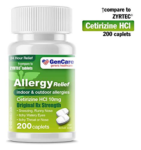 GenCare  Cetirizine HCL 10 mg (200 Count) | 24 Hour Non Drowsy Allergy Relief Pills | Best Value Generic OTC Allergy Medication | Antihistamine for Sneezing, Runny Nose and Itchy Eyes | Generic Zyrtec (Best Otc For Runny Nose)
