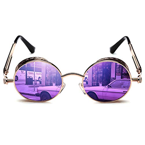 ROCKNIGHT Womens Sunglasses Round Mirrored Sunglasses for Women Polarized UV Protection Purple Vintage Sunglasses Ladies UV400 Sunglasses Gifts ()