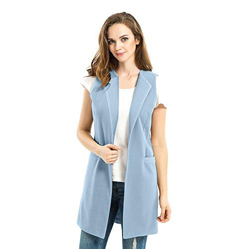 Biovan Women's Wool Blend Sleeveless Long Vest Jacket Longline Slim Waistcoat (XL, Light Blue)