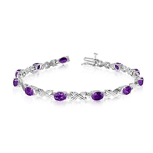 Jewels By Lux 10K White Gold Oval Amethyst and Diamond Bracelet (10k Amethyst Bracelet Gold)