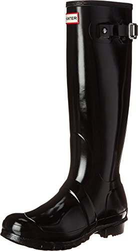 Hunter Women's Original Tall Gloss Snow Boot, Black, 8 M US