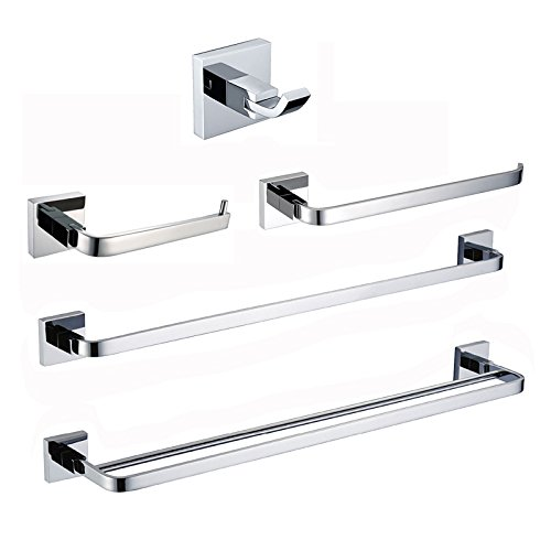 Sumin Home S33501C Collection 5-piece Towel Bar Bath Hardware Set(Towel Ring, Toilet Paper Holder, Robe Hook, Double Towel Bar, Single Towel Bar), Chrome by Sumin Home