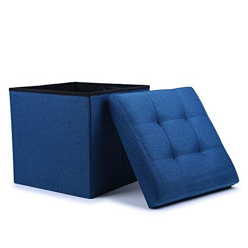 Good WoneNice Folding Storage Ottoman Cube Foot Rest Stool Seat (Linen Navy)