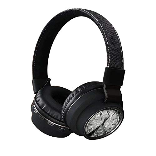 Time Orbit Wireless Headsets, INmark Bluetooth Headphones with SD Card FM Radio in-line Bluetooth 4.2 Volume Control Microphone, Creative Art on Ear Hi-Fi Stereo Black Earphones