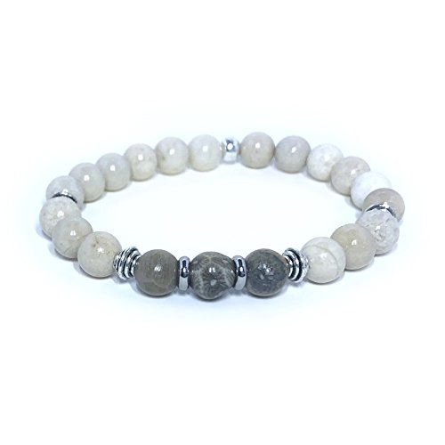 Fossil Coral and River Stone 8mm Gemstone Stretch Bracelet Handmade in California