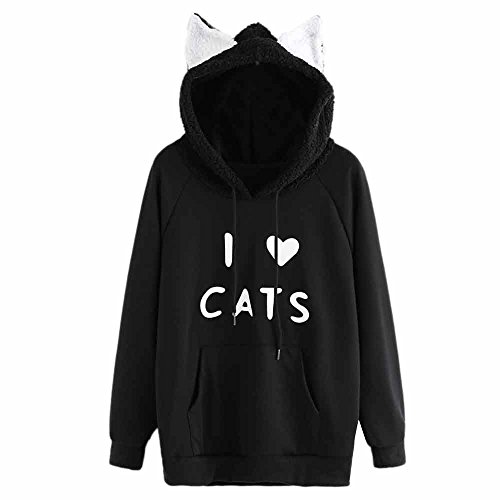 Womens Tops Sale,KIKOY Girls Cat Hooded Long Sleeve Sweatshirt Casual Pullover