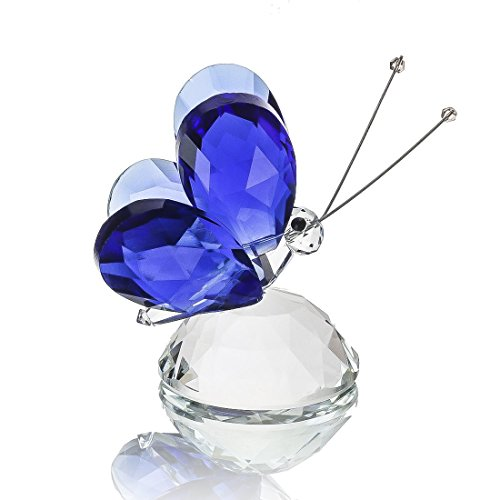 (H&D Blue Crystal Flying Butterfly with Crystal Base Figurine Collection Cut Glass Ornament Statue Animal Collectible Paperweight)