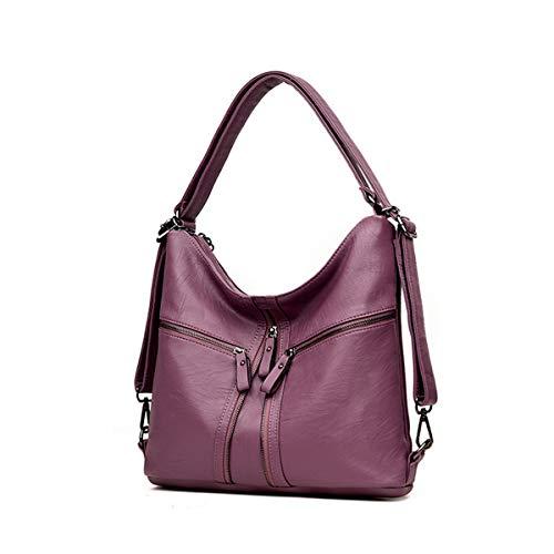 Mochila de Bag Gris Mujeres de OURBAG suave Púrpura mujer para Hobo Tote cuero Bolsos oscuro cruzados oficina Bolso Hobo waxOOqHIEg