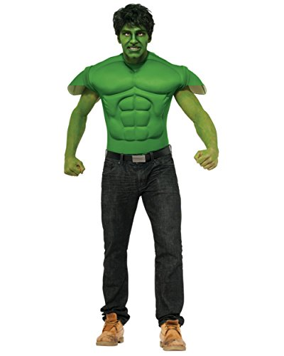 Rubie's Costume Men's Marvel Universe Hulk Muscle Chest T-Shirt and Eye Mask, Multi, Standard (Muscle Chest Shirt Costume)