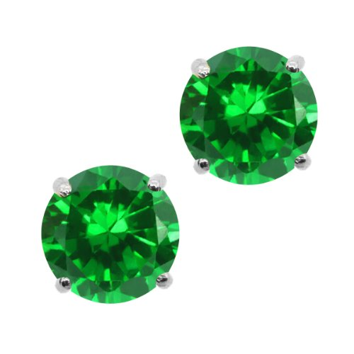 300-Ct-Round-6mm-Green-Simulated-Emerald-14K-White-Gold-Stud-Earrings