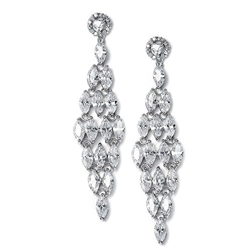 Mariell Spectacular Cubic Zirconia Bridal or Formal Chandelier Earrings with Marquis Cluster (Long Cluster Earrings)