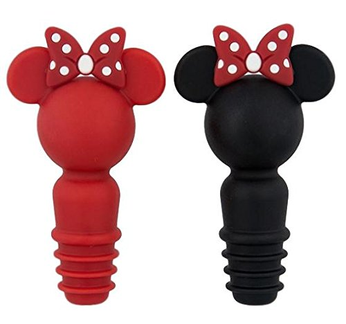 Disney Parks Minnie Mouse Icon Silicone Bottle Wine Stopper Set of 2