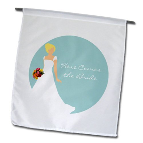 Janna Salak Designs Wedding - Here Comes the Blonde - Brunette Bride Blue - 12 x 18 inch Garden Flag (fl_165863_1)