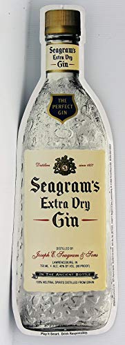 Seagram's Extra Dry Gin die Cut Bottle Metal Sign The Perfect ()